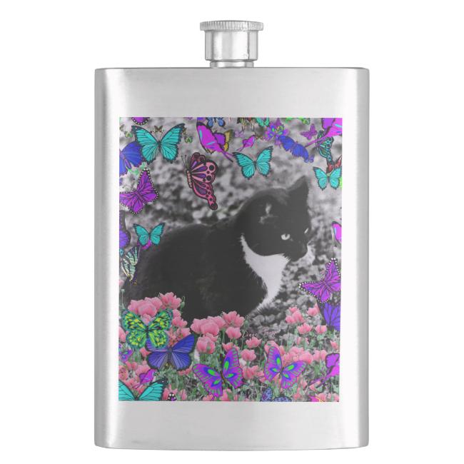 Freckles in Butterflies III, Tux Kitty Cat Flasks