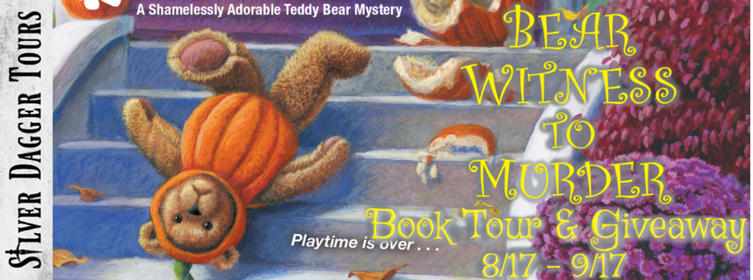 """Book Tour Banner for cozy mystery Bear Witness to Murder from the Shamelessly Adorable Teddy Bear Mystery Series by Meg Macy with a Book Tour Giveaway """