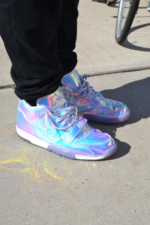 These iridescent Nike sneakers caught our attention while shooting street style at the @Staplepigeon event at #SXSW today