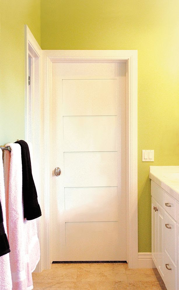 PRIMED WHITE 5 PANEL SOLID CORE SHAKER MISSION STYLE INTERIOR DOOR IN 1012