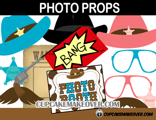 Wild West Cowboy And Cowgirl Photo Booth Props Instant Download