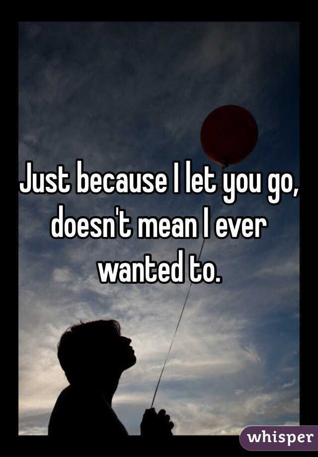 Just Because I Let You Go Doesnt Mean I Ever Wanted To