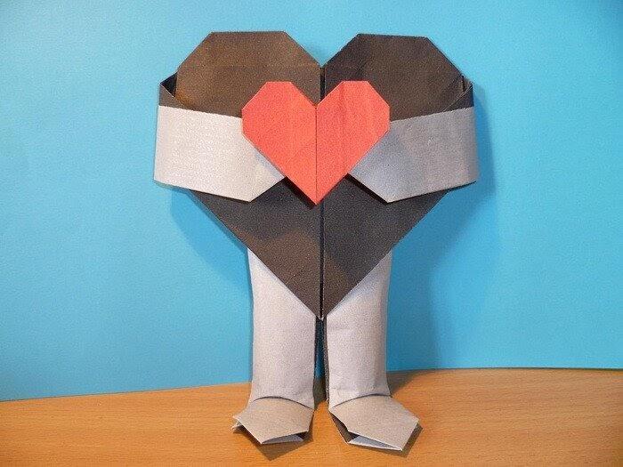 Открытка оригами к дню святого валентина
