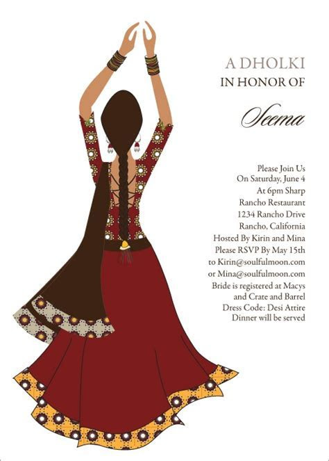 Clapping Diva Indian Bridal Shower Invitations by #