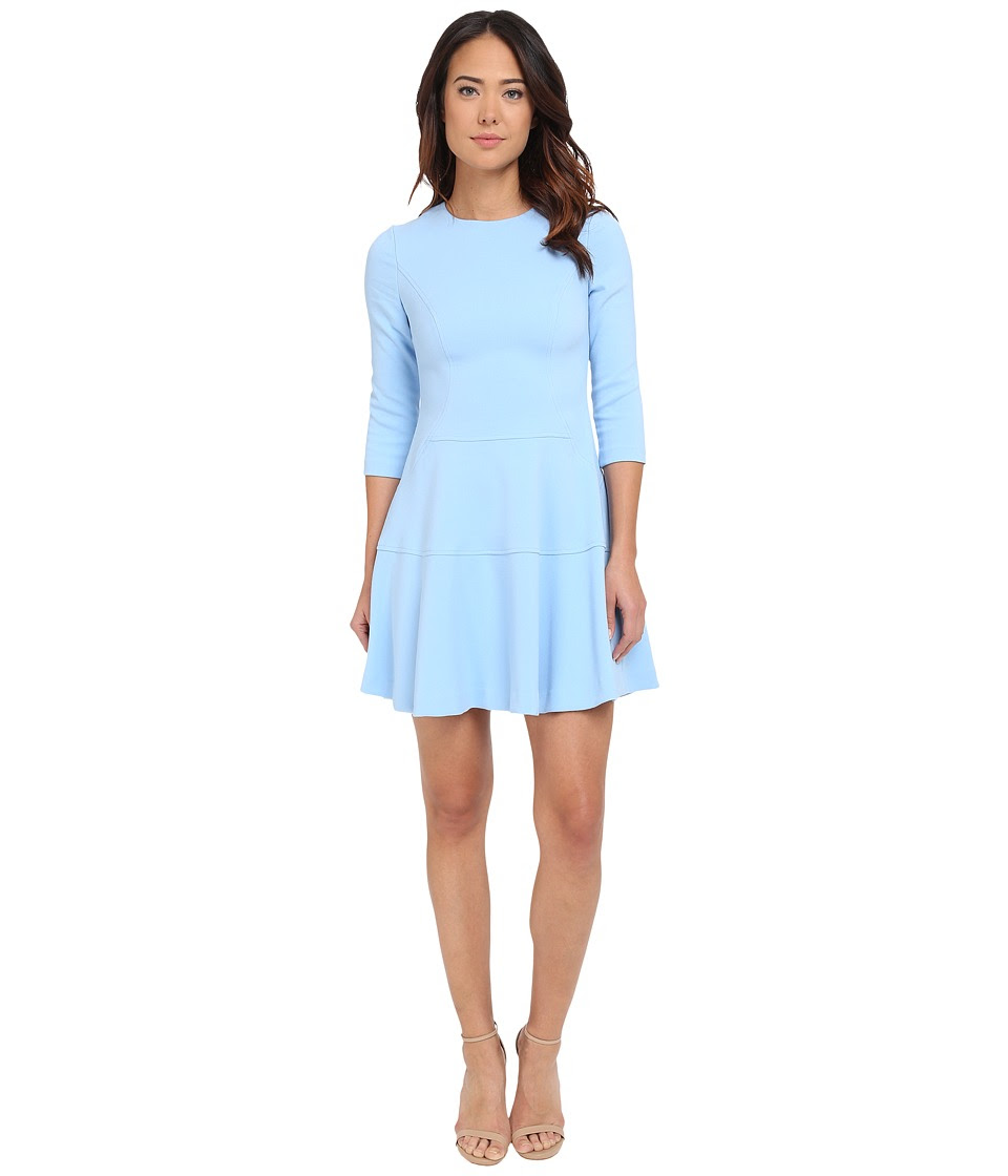 Vince Camuto - Long Sleeve Drop Waist Fit and Flare (Blue) Women's Dress