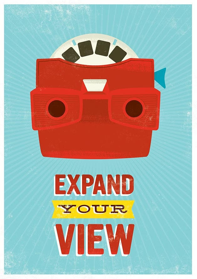 Inspirational Retro Print  pop art poster  nursery art  print  kids room art  - Viewmaster - Expand your view 16 x 20 inch