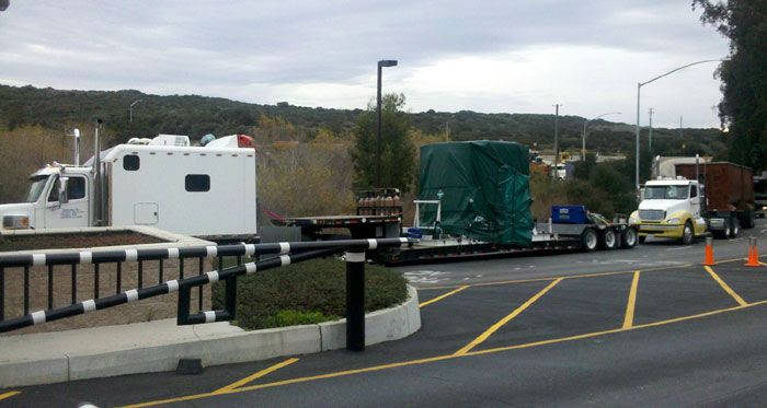 A truck carrying NASA's Glory spacecraft arrives at Vandenberg Air Force Base in California on January 11, 2011.