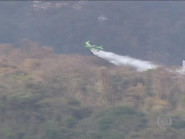 Aviões foram usados para ajudar no combate ao incêndio na reserva ecológica em Ribeirão Preto, SP (Foto: Chico Escolano/EPTV)