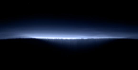 La imagen anterior desplegada por Ian Reagan para que veamos el horizonte de Plutón durante los amaneceres o atardeceres (Ian Reagan)
