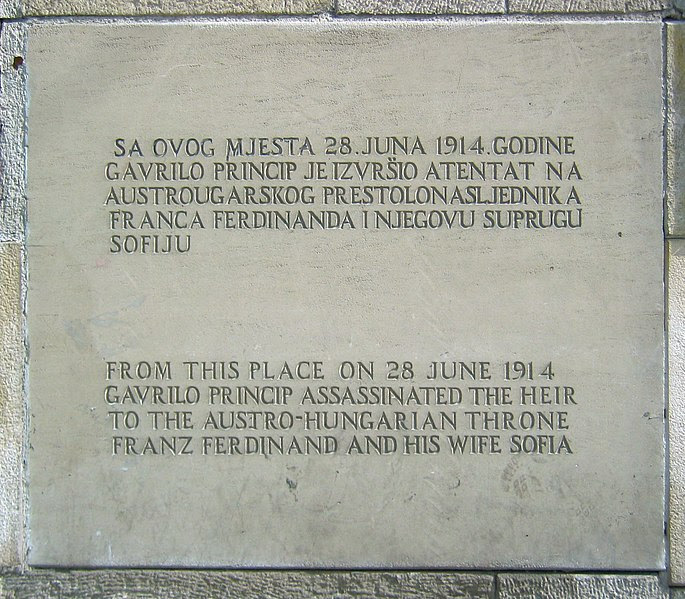 Sarajevo: commemoration of the assassination site