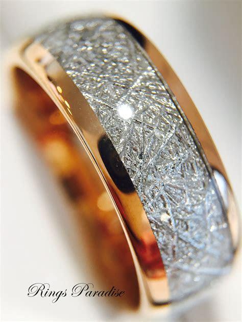 Meteorite Ring Tungsten Wedding Bands Rose Gold Tungsten