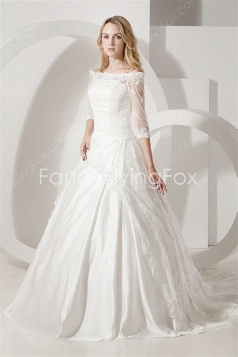 3/4 Sleeves Off The Shoulder Ball Gown Full Length