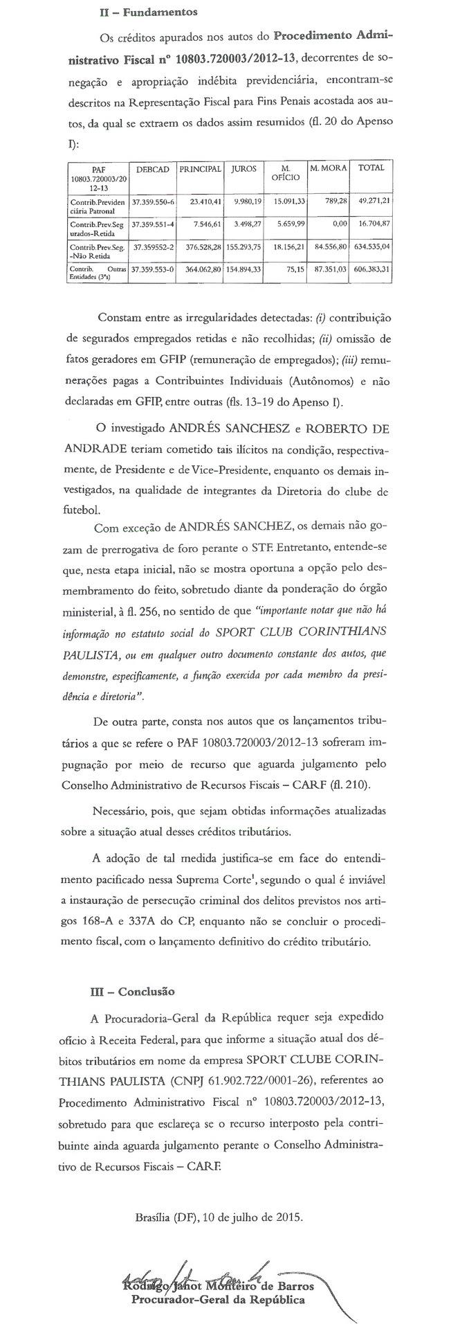 MP quer ajuda da Receita com relação de dívidas atuais do Corinthians