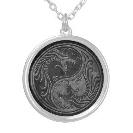 Stone Yin Yang Dragons Pendants