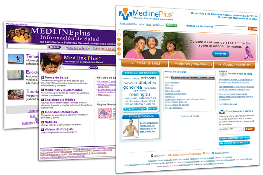 Collage of current and previous MedlinePlus Spanish Homepage