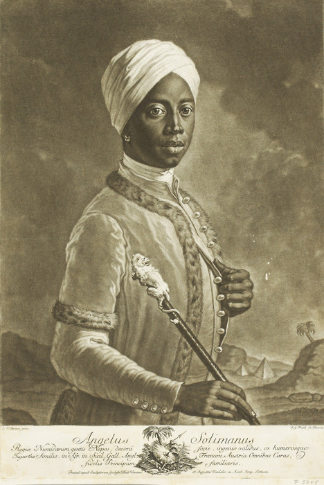 """Angelo Soliman (ca.1721-1796) A man of remarkable intelligence, intelligence that won his freedom. He spoke six languages fluently and could write three of them fluently as well. He was also a master swordsman, war hero, chess specialist, navigation expert, concert composer, and a tutor to royalty.  He may have been the subject of Mozart's popular opera The Magic Flute.  Soliman was considered one of the most learned people of his generation. Angelo Soliman born in Africa in 1720/21 either to the Wandala or Mandara, a Muslim ethnic group in the Mandara Hills of Northern Cameroon but also in Bornu State Nigeria. His original name, Mmadi Make, is linked to a princely class in the Sokoto State in modern Nigeria. Around the age of 7 He was taken captive as a child and arrived in Marseilles as a slave, eventually transferring to the household of a marchioness in Messina who oversaw his education. Out of affection for another servant in the household, Angelina, he adopted the name Angelo and chose to celebrate September 11, his baptismal day, as his birthday. After repeated requests, he was given as a gift in 1734 to Prince Georg Christian, Fürst von Lobkowitz, the imperial governor of Sicily. He became the Prince's valet and traveling companion, accompanying him on military campaigns throughout Europe and reportedly saving his life on one occasion, a pivotal event responsible for his social ascension. After the death of Prince Lobkowitz, Soliman was taken into the Vienna household of Joseph Wenzel I, Prince of Liechtenstein, eventually rising to chief servant. Later, he became royal tutor of the heir to the Prince, Aloys I. A cultured man, Soliman was highly respected in the intellectual circles of Vienna and counted as a valued friend by Austrian Emperor Joseph II and Count Franz Moritz von Lacy. In 1783, he joined the Masonic lodge """"True Harmony"""", whose membership included many of Vienna's influential artists and scholars of the time, among them the musicians Wolfgang """
