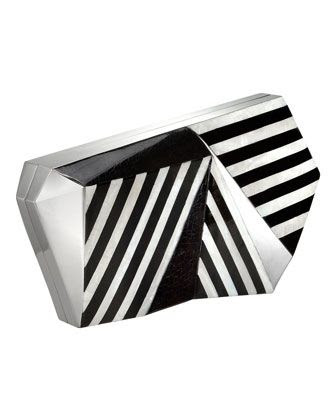 Rafe Azura Asymmetrical Striped Minaudiere