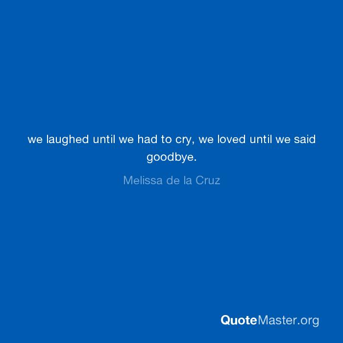 We Laughed Until We Had To Cry We Loved Until We Said Goodbye