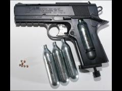 A BB gun with pellets