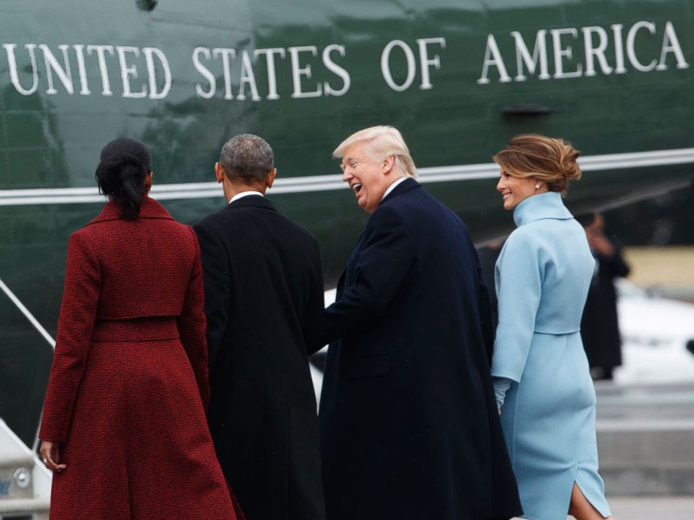 PHOTO: President Donald Trump and first lady Melania Trump walk former President Barack Obama and Michelle Obama to a Marine helicopter during a departure ceremony on the East Front of the U.S. Capitol, Jan. 20, 2017, in Washington.