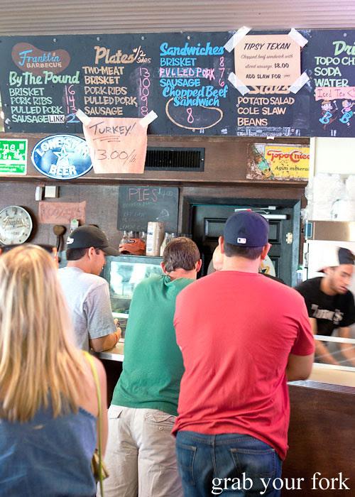 bbq menu at franklin barbecue austin texas