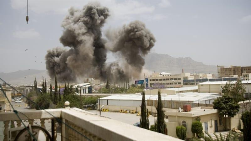 Smoke billows from a Saudi-led air strike on Sanaa, Yemen [AP]
