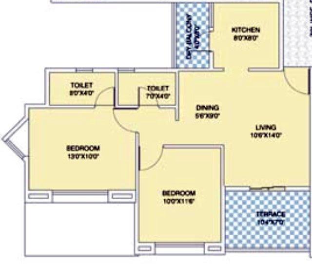 Nirman Viva D 105 - 2 BHK Flat - 629 Carpet + 72 Terrace for Rs. 41,75,125 +5,000 Misc Charges + ST + VAT