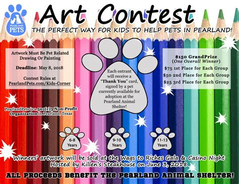 kids art contest pearland pets