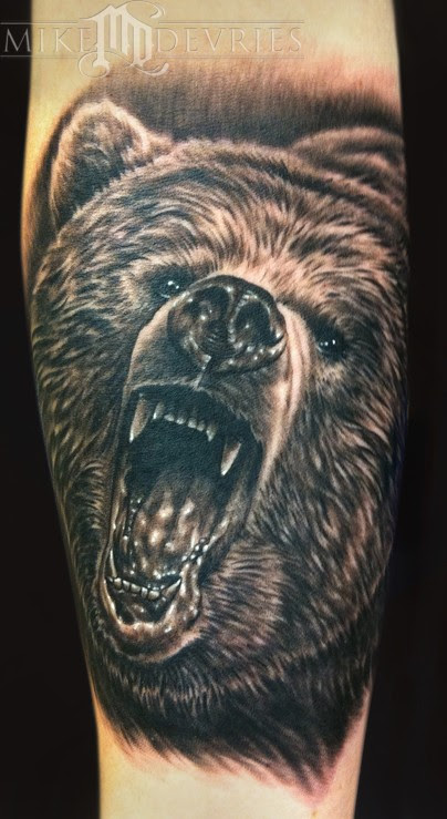 Grizzly Bear Tattoo. I love when I get the chance to tattoo black and grey