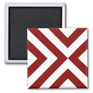 Red and White Chevrons Refrigerator Magnet