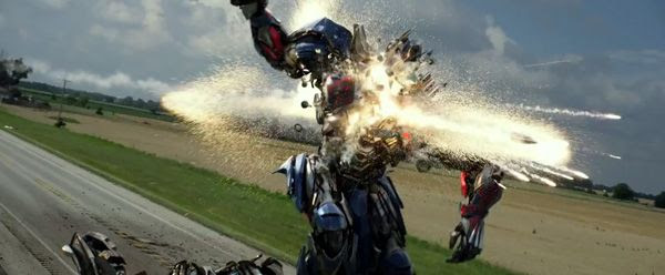 Optimus Prime is shot by Lockdown in TRANSFORMERS: AGE OF EXTINCTION.