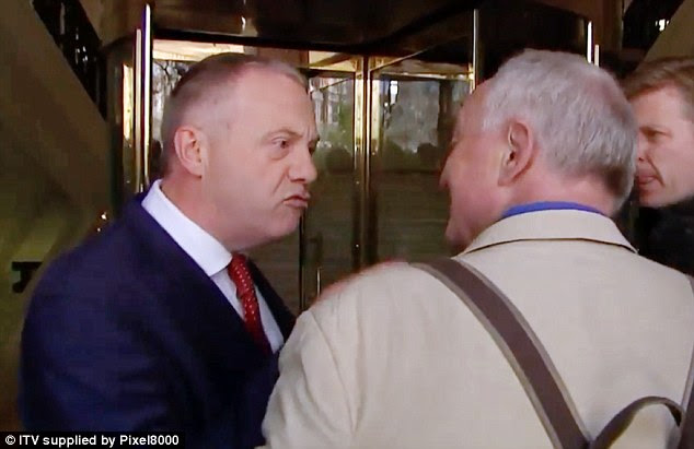 Labour MP John Mann confronts Ken Livingstone outside TV studios in Westminster today
