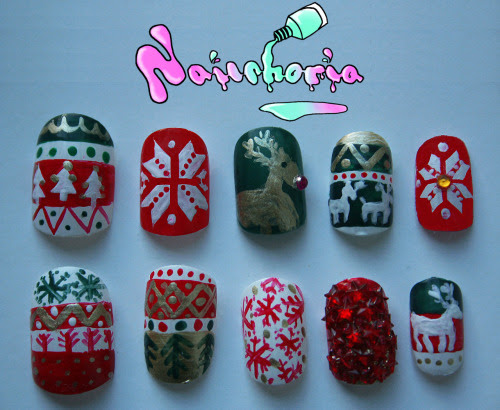 My xmas nails! I did this set for a friend. This was the first time painting false nails. I quite liked it because it meant I could take my time but also do stuff in between painting coats!