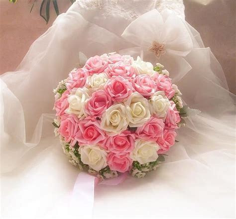 2019 30cm Artificial Rose Cascading Bridal Bouquet White