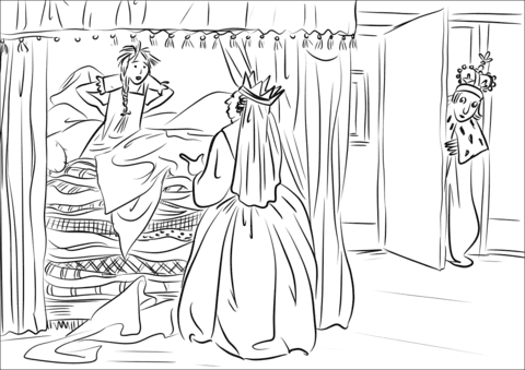 The Princess Complains That Something Hard In The Bed Stopped Her From Sleeping Coloring Page Free Printable Coloring Pages