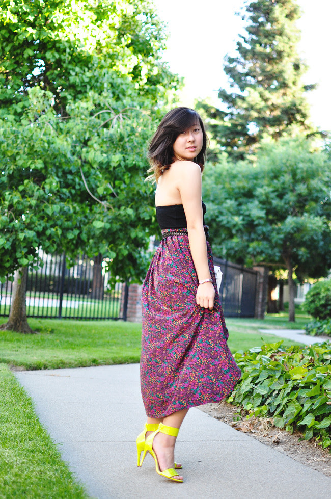 black bandeau, thrifted & DIY floral high-lo skirt {thanks Jamie!}, black Levis belt, gifted white purse, neon green strapped heels {H&M}
