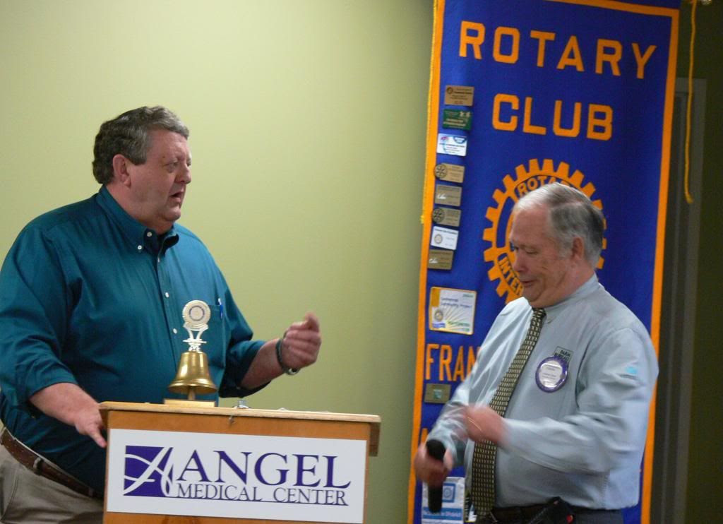 Ronnie Beale and Charles Thun at the Daybreak Rotary Club Meeting  Photo by Bobby Coggins