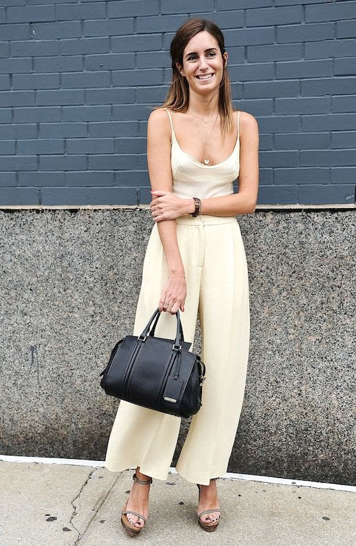 Le Fashion Blog Blogger Style Nyfw Yellow Cami Culottes Tote Bag Strappy Sandals Via Popsugar