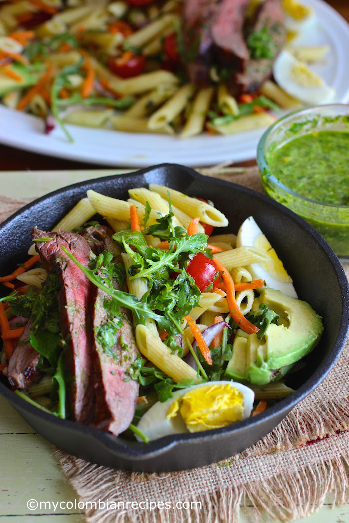 Penne Pasta, Steak and Chimichurri Salad  My Colombian Recipes