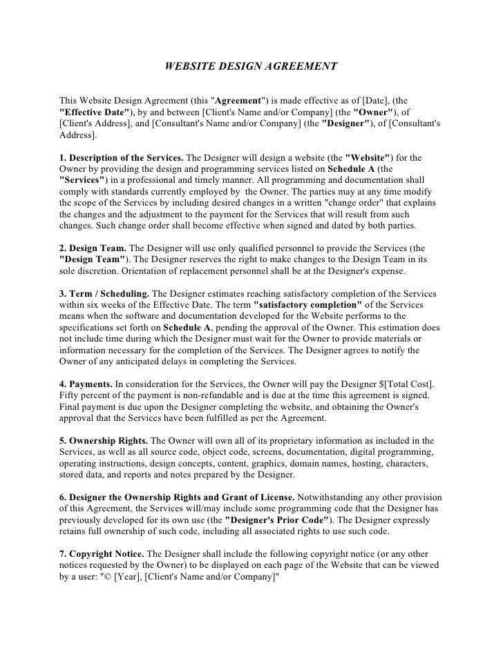 website design agreement template 1 728