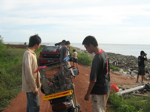 Preparing a scene at the seashore