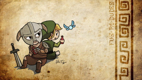 ryomaninja:  Fus - Ro - Dudes  The two biggest game characters this holiday season.  Dovahkiin and Link.