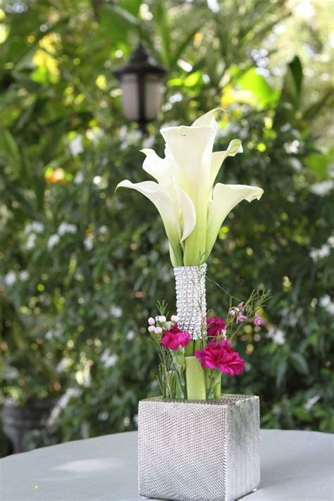 Calla Lily Wedding Cocktail Table Centerpiece by Helen G