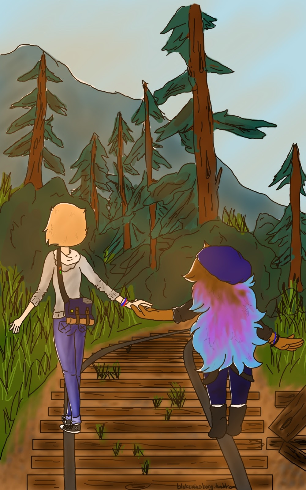 """""""Amethyst ?"""" """"Yeah P ?"""" """"You know you're my partner in time right ?"""" """"..heh, as long as you're my partner in crime~"""" —- Day 2: Crossover Life is Strange @fuckyeahpearlmethyst @annadesu"""