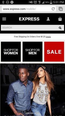 How to Make Mobile eCommerce Convert: What's Effective In Mobile Design Right Now image express mobile 1 e1407791230690