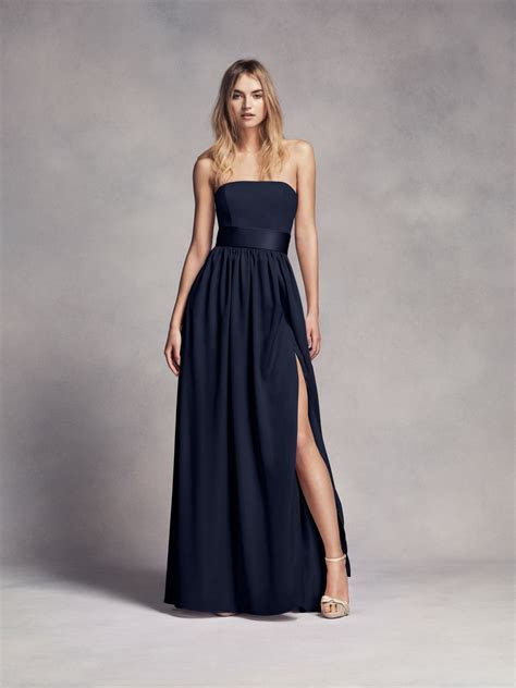 Long Strapless Midnight Blue White by Vera Wang Bridesmaid