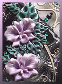 One-of-a-kind necklace with lilac hand-sculpted orchids