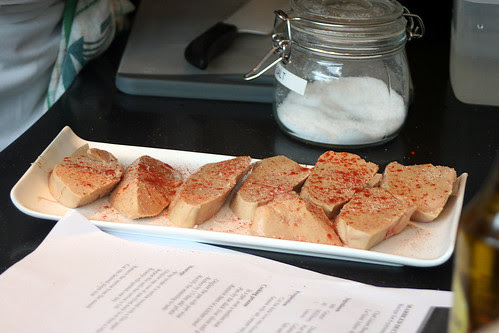 Cut the duck liver into 12mm slices; season with salt, pepper and paprika
