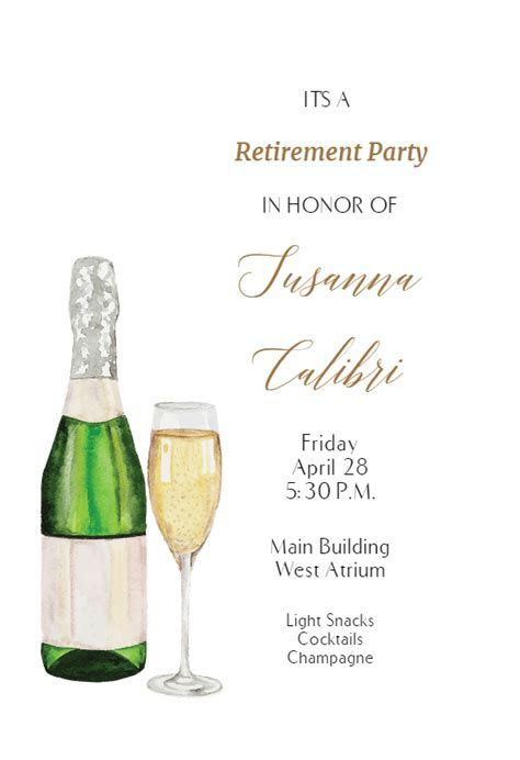 Pink Clink   Retirement & Farewell Party Invitation