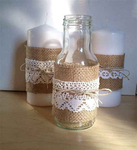 Jar with Burlap, Lace and Twine, for Decor at Home